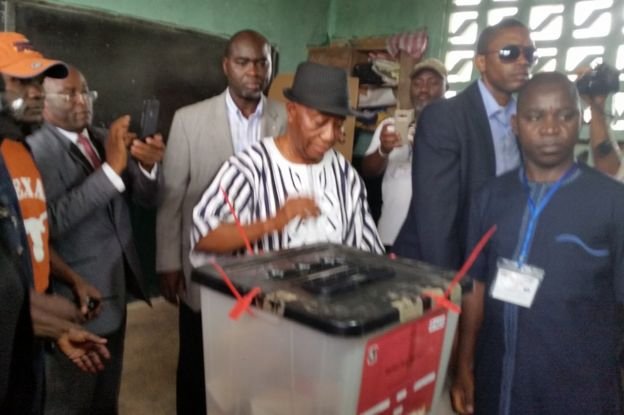 Joseph Boakai votes in Liberia, 26 December