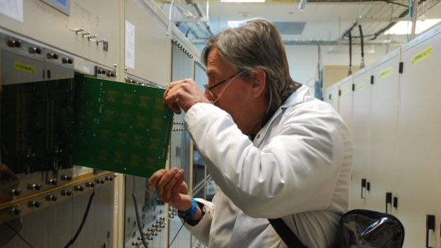 A scientist at work on the super-computer