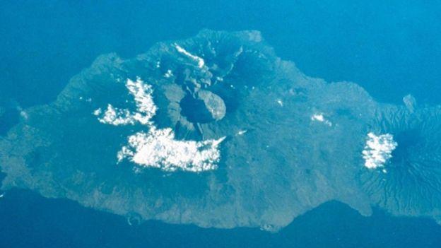 Una vista aérea del volcán Tambora