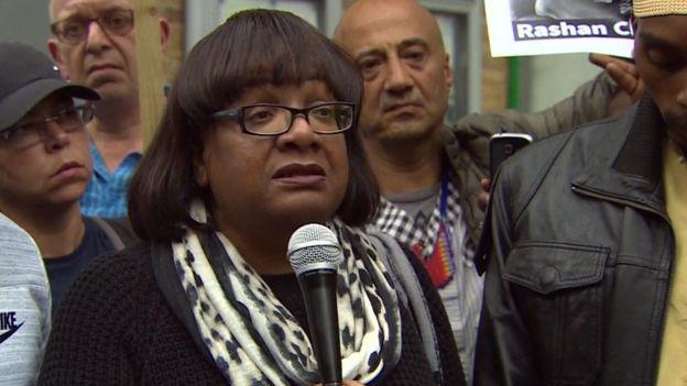 Diane Abbott speaking at the vigil