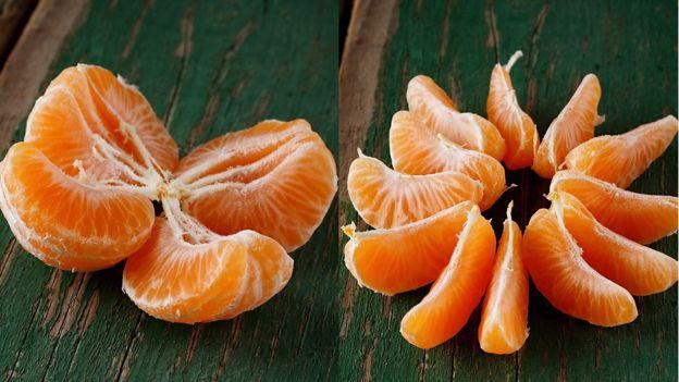 Mandarinas divididas en más o menos cascos