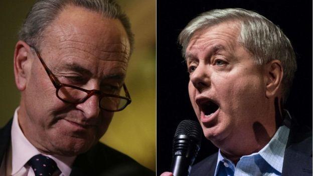Thượng nghị sĩ Charles Schumer (trái) và Lindsey Graham
