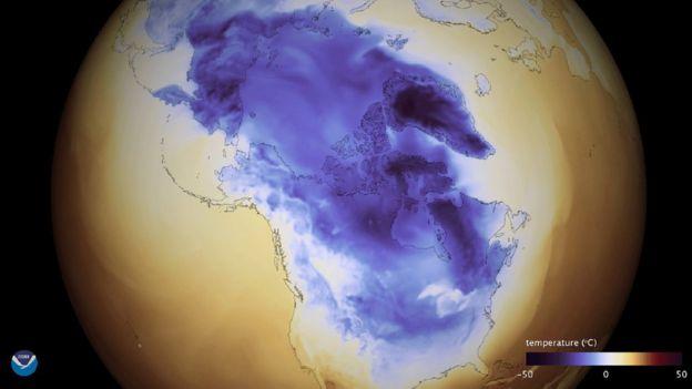 Mapa que muestra la ola de frío.
