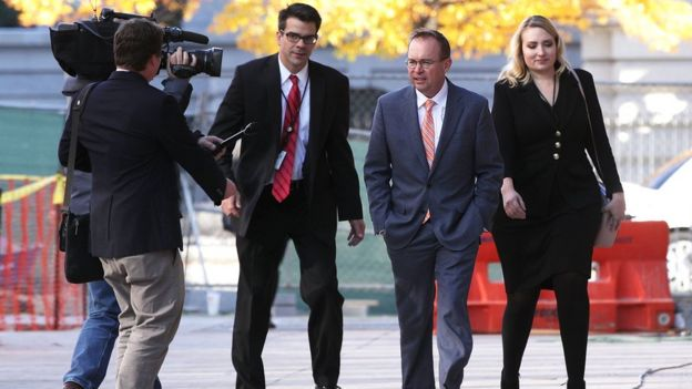 Mick Mulvaney leaves the CFPB offices on Monday 27 Nov 2017