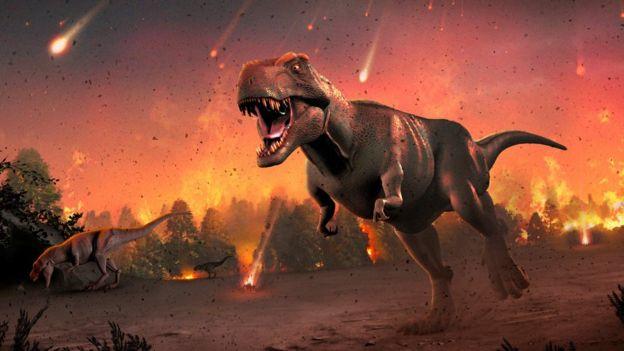 Ilustración representando la extinción de los dinosaurios.