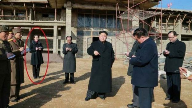 كثيرا ما تظهر كيم يو-جونغ (محاطة بدائرة) جنبا إلى جنب مع شقيقها