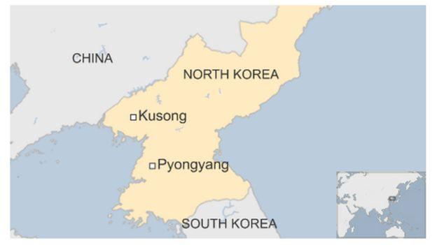 Map Of North Korea Highlighting Kusong And Pyongyang