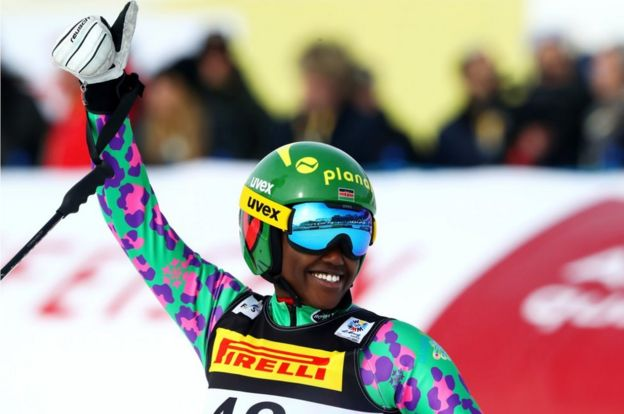 Sabrina Simader of Kenya celebrates at the finish during the Women's Super G during the FIS Alpine World Ski Championships on February 7, 2017 in St Moritz, Switzerland.