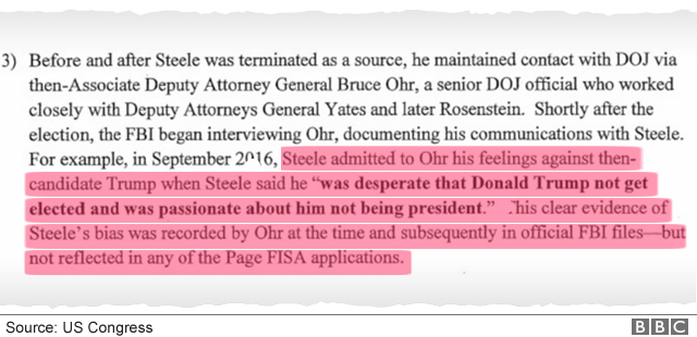 """memo extract with highlighted text: """"Steele... was desperate that Donald Trump not get elected"""""""