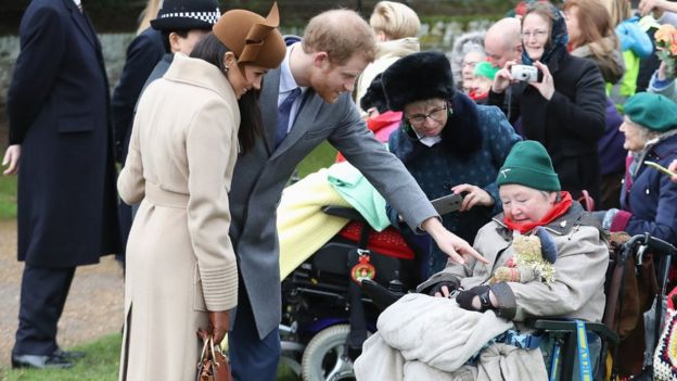 Prince Harry and Meghan Markle spoke to members of the public