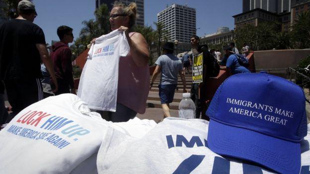 Protesta de migrantes en California