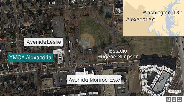 Mapa del lugar donde ocurrió el tiroteo