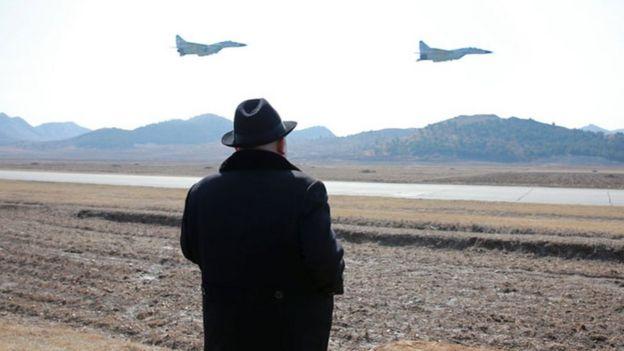 Kim Jong-un watches flight drills in February 2016