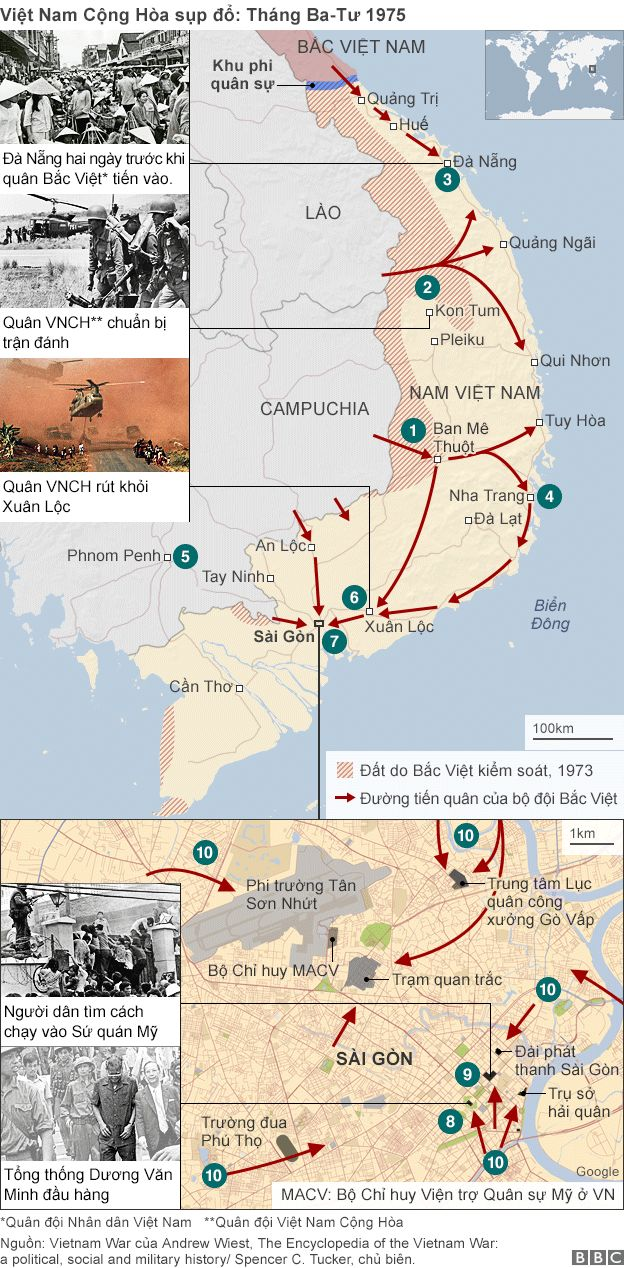 Ba chiến dịch - Tây Nguyên, Huế - Đà Nẵng và Hồ Chí Minh - dẫn đến ngày sụp đổ của chế độ Việt Nam Cộng Hòa ngày 30/4/1975