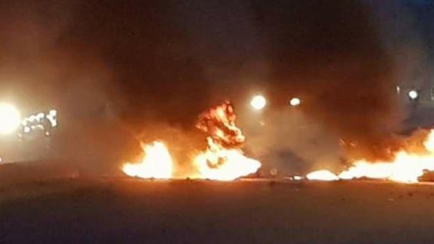 Le feu et la fumée enveloppent N'Djamena, la capitale Tchadienne.
