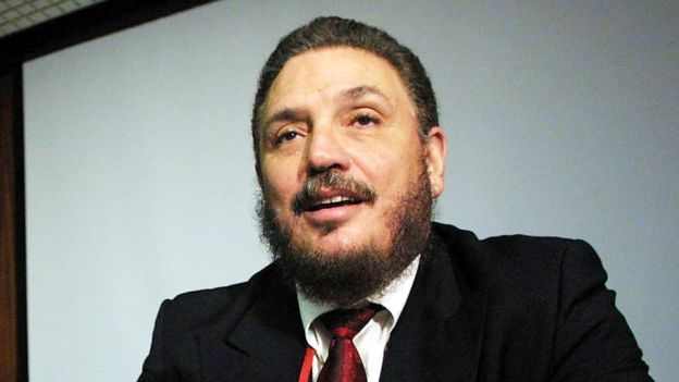 Dr. Fidel Castro Diaz Balart, son of Cuban president Fidel Castro, talks to the media during the presentation of his book 'Amanecer del Tercer Milenio' in 2002