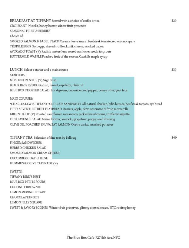 Primera página del menú de Tiffany's. (Cortesía: Tiffany)