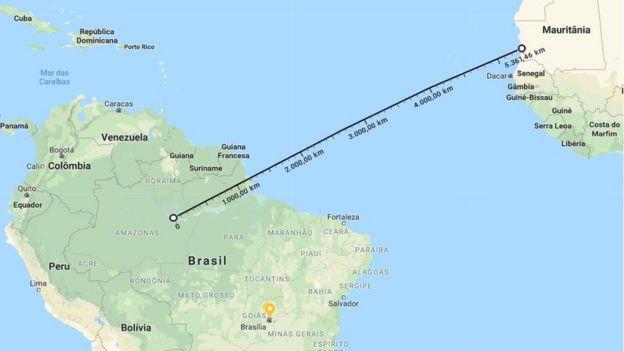 Distância entre o deserto do Saara e a floresta amazônica