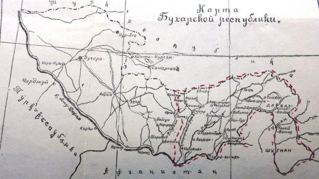 Карта Бухарской республики, 1926 год