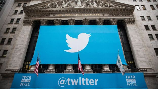 The Twitter logo is displayed on a banner outside the New York Stock Exchange (NYSE) on 7 November 2013 in New York City.