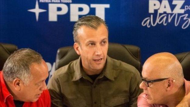 El Aissami, (c) y otros dirigentes venezolanos, en un reciente acto en Caracas.