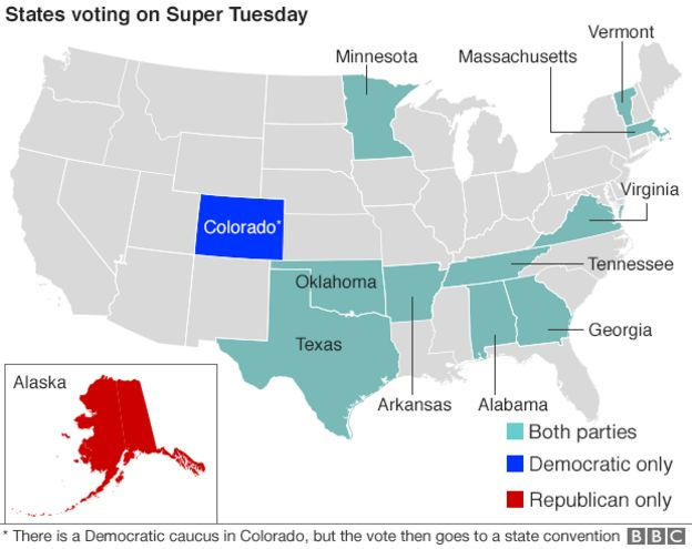 Map Super Tuesday States