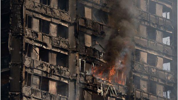 Binadaki yangın günün ilerleyen saatlerinde de devam etti