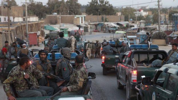 Afghan security forces in Kunduz on 1 October 2015