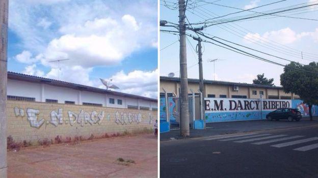 A fachada da escola, antes e depois