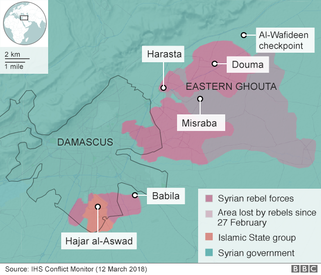 Map showing control of the Eastern Ghouta on 12 March 2018