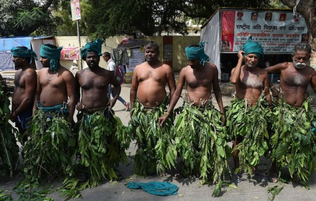Indian farmers from the southern state of Tamil Nadu wear tree leaves as they take part in a protest in Delhi