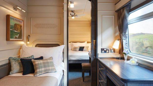 Los camarotes del Belmond Grand Hibernian, tren que atraviesa Irlanda, son c??modos y espaciosos.