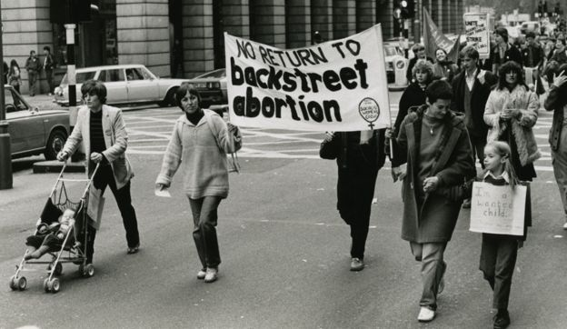 Pro-choice protestors on a march in 1979