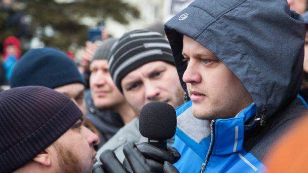 Игорь Востриков на митинге в Кемерово