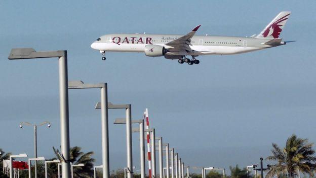 多哈上空的卡塔尔航空班机