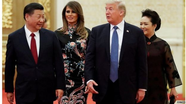 Chinese President Xi Jinping with his US counterpart Donald Trump in November