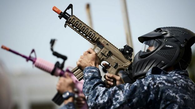 Soldiers from Bahrain take part in a military exercise.