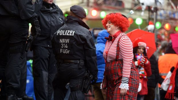 A female reveller takes part in Cologne's carnival