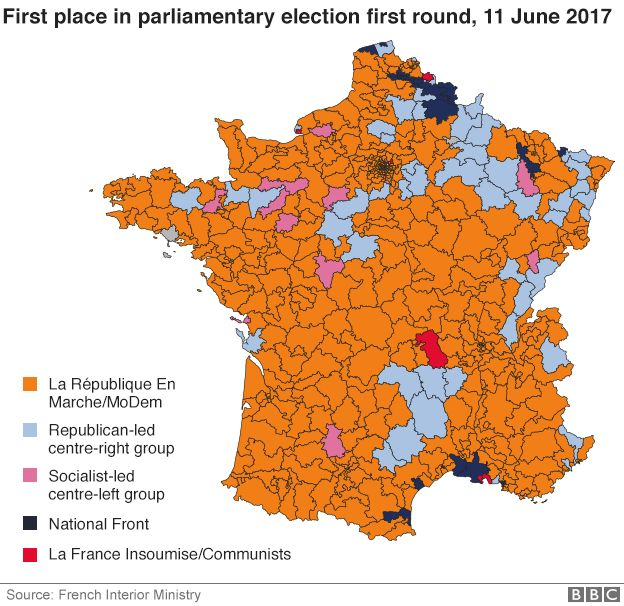 France Election Macron Party Set For Big Parliamentary Win BBC News - Bbc election map us