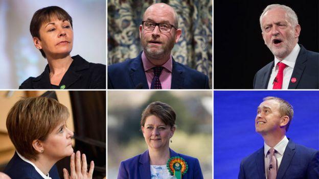 Clockwise, from top left: Green leader Caroline Lucas; UKIP's Paul Nutall; Labour's Jeremy Corbyn; SNP's Nicola Sturgeon; Plaid Cymru's Leane Wood; Liberal Democrat's Tim Farron