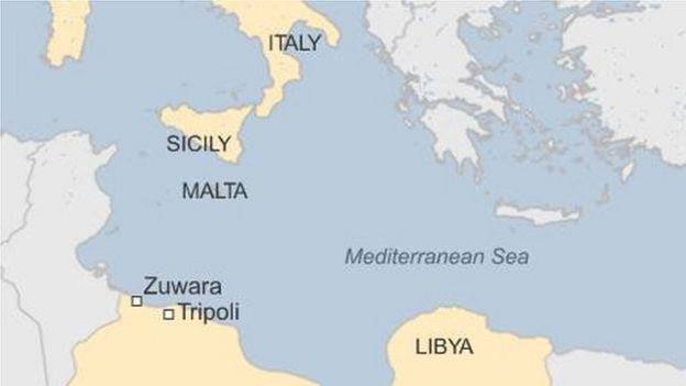 Migrant crisis libya boats sink off zuwara carrying hundreds map showing libya italy malta and sicily sciox Images