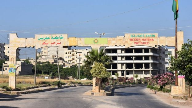 File photo showing main entrance to Syrian town of Afrin (9 June 2017)