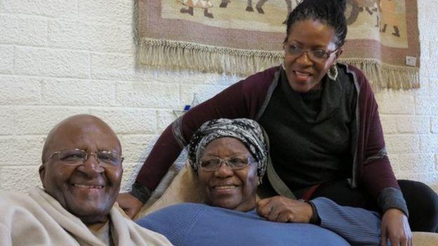 Desmond Tutu, his wife Leah and daughter Mpho - 2015