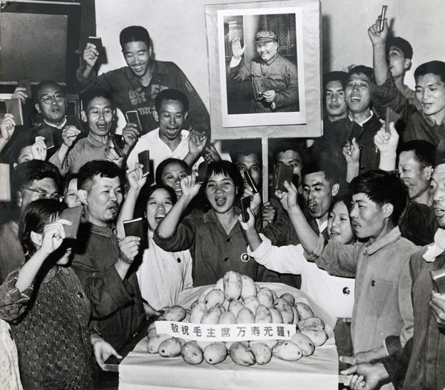 People celebrate around a plate of mangoes