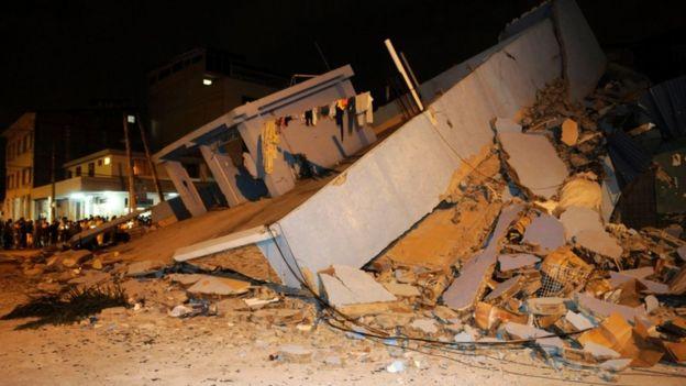Quake damage in Guayaquil, Ecuador, 17 April