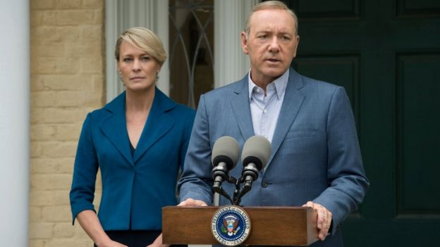 Kevin Spacey y Robin Wright en House of Cards.