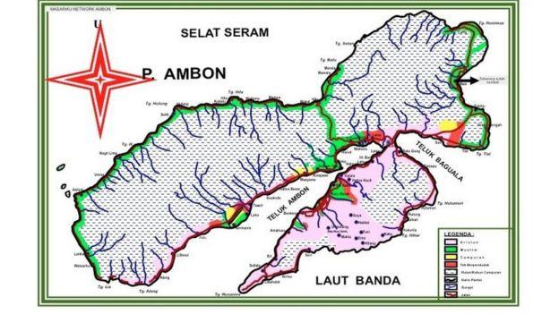 Peta tempat tinggal masyarakat di Ambon.