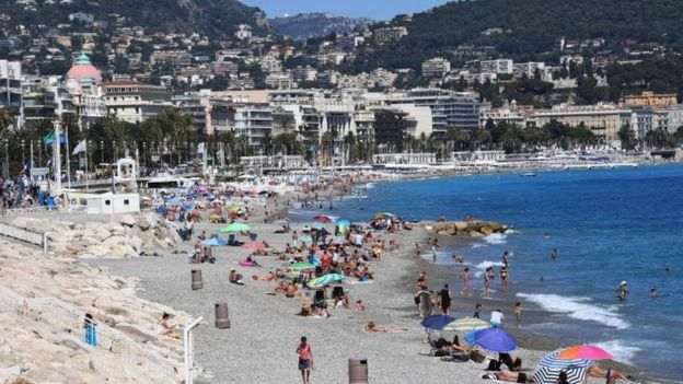 The scene of a beach in Nice, France on 16 July 2016