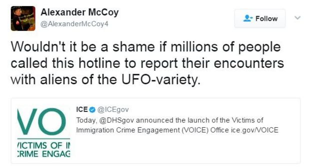 Tweet reads: Wouldn't it be a shame if million of people called this hotline to report their encounters with aliens of the UFO-variety