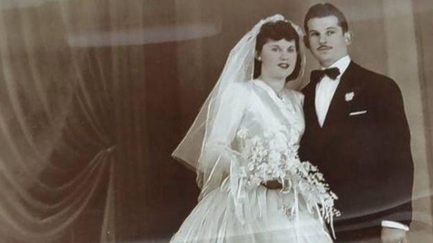 Isaac e Teresa Vatkin no casamento